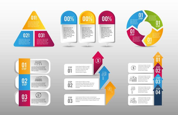 set business infographic data strategy plan vector