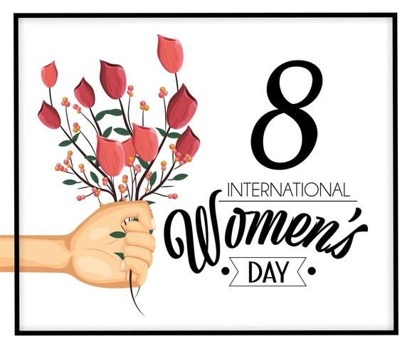 hand with roses plants to women's day celebration vector