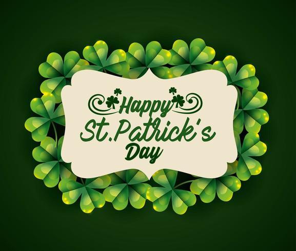 St Patrick etikett med klöver dekoration vektor
