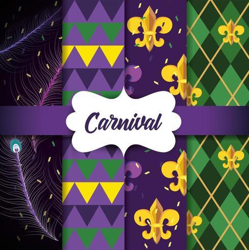 Uppsättning av Mardi Gras-emblembakgrund vektor