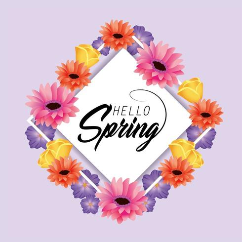 tarjeta de primavera con plantas de flores y rosas vector