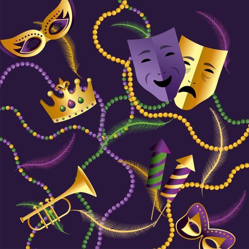 Krone mit Masken und Trompete zu Karneval vektor