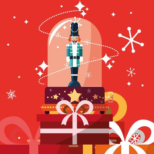nutcracker soldier in crystal sphere with gift boxes presents vector