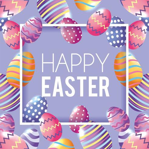 Happy Easter with easter eggs decoration background vector