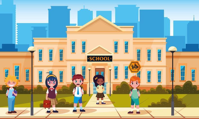 facciata della scuola con simpatici piccoli studenti