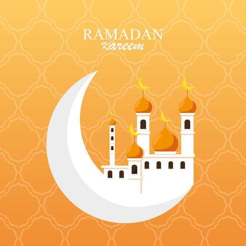 ramadan kareem mosque building in moon vector