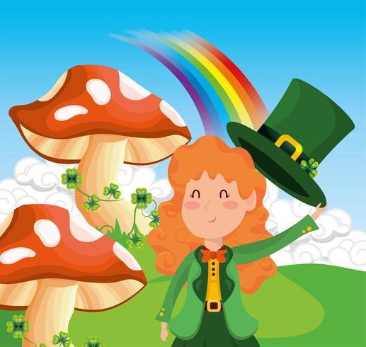 St Patrick kvinna med svamp och klöver med regnbågen vektor