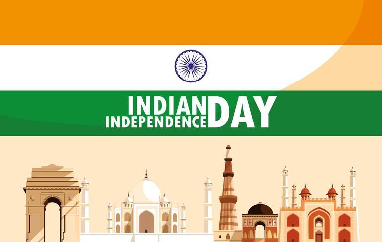 Día de la independencia india con monumentos de bandera y edificios vector