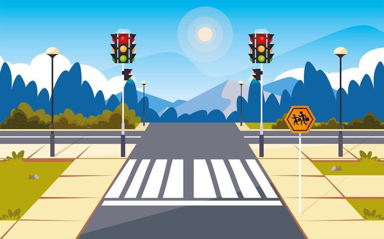 road street scene with traffic light vector