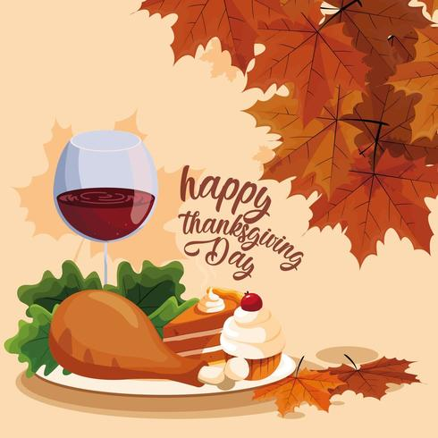 turkey dinner with cup of wine and cakes vector