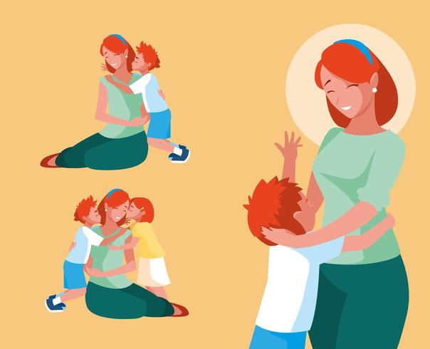 group of cute mothers and children vector