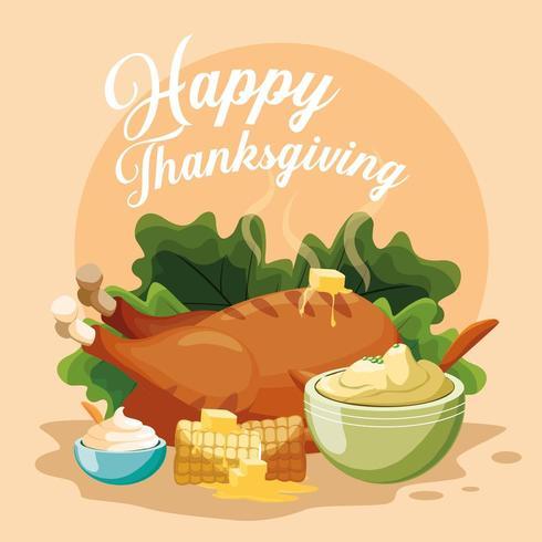 turkey dinner of thanksgiving day vector