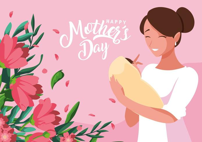 happy mother day card with mom and baby vector