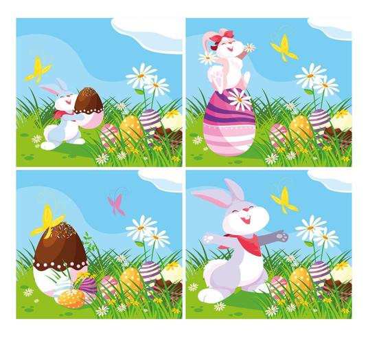cards with rabbits and eggs of easter in garden vector