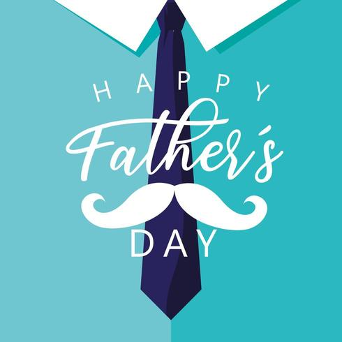 happy father day card with moustache and necktie vector