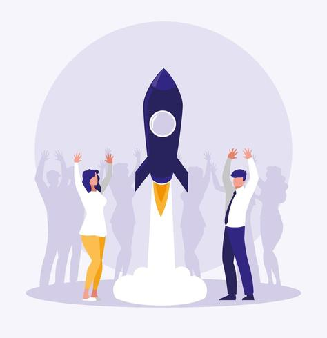 business people celebrating with rocket startup vector