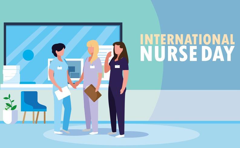 internationell sjuksköterskedaggrupp av professionella kvinnor vektor