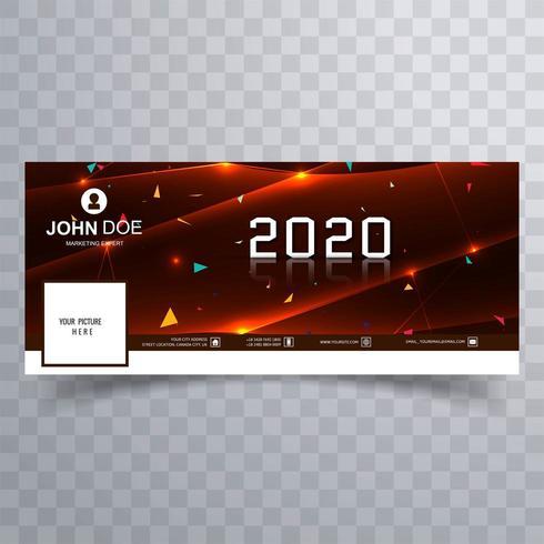 2020 nytt år röda sociala medier täcka banner vektor