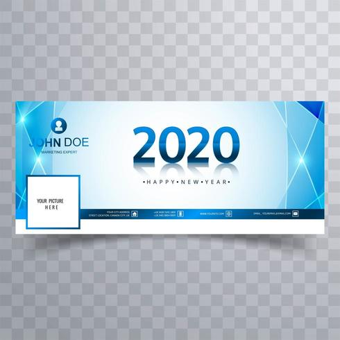 2020 new year blue social media cover banner vector