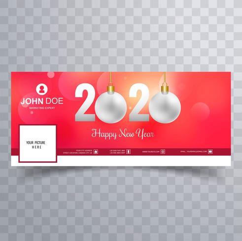 2020 nya året sociala medier täcker banner med julprydnader vektor