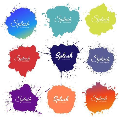 Colorful watercolor splash set design vector