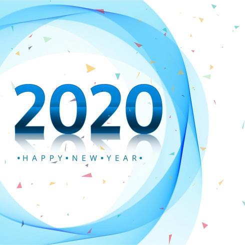 Buon design per le vacanze del nuovo anno 2020 con cerchi blu e coriandoli