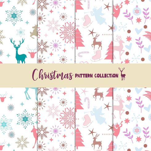 Pastel Christmas pattern collection vector