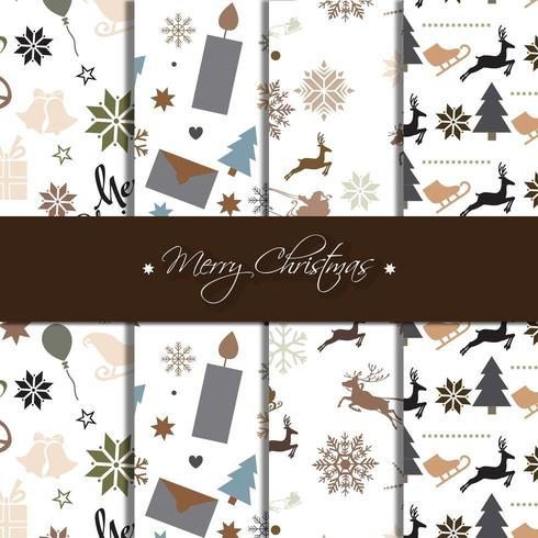 Dark Christmas pattern collection vector
