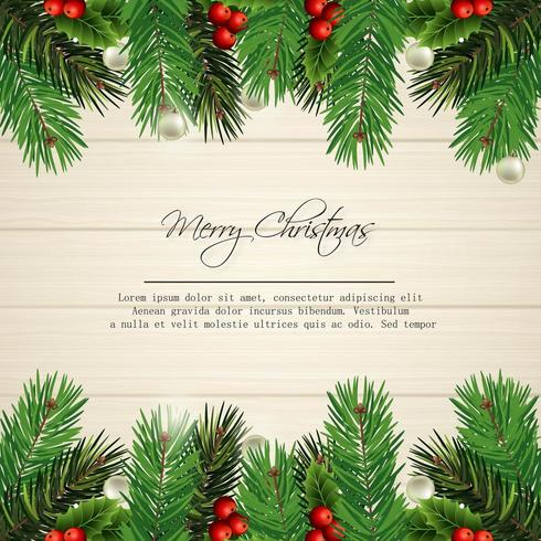 merry christmas card design with pine leaves on wood vector
