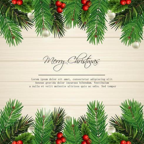 buon natale card design con foglie di pino su legno