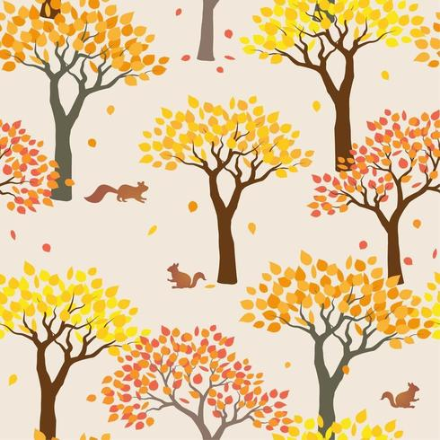 Squirrels with forest on autumn mood seamless pattern vector