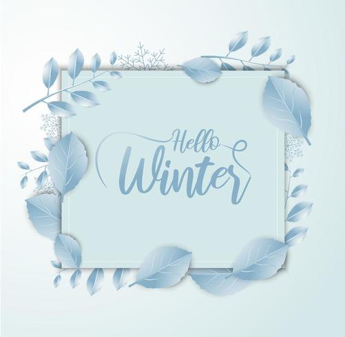 Hello Winter banner with paper art and craft style vector