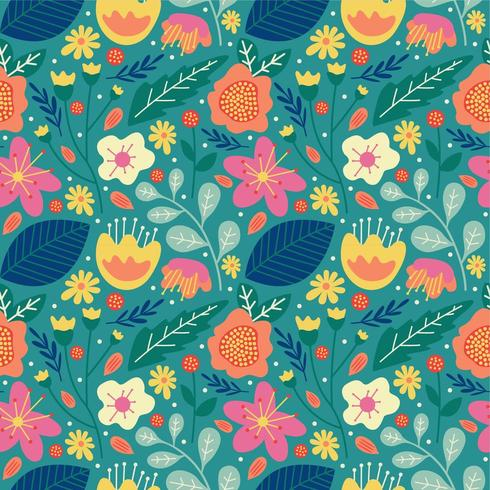 floral flower blossom and leaves seamless pattern vector