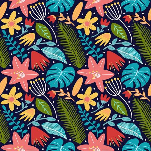 flower blossom leaves and monstera seamless pattern background vector