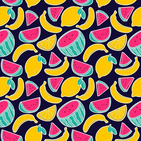fruit lemon watermelon banana seamless pattern vector