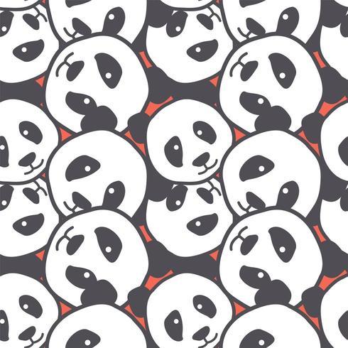 panda head doodle seamless pattern background vector