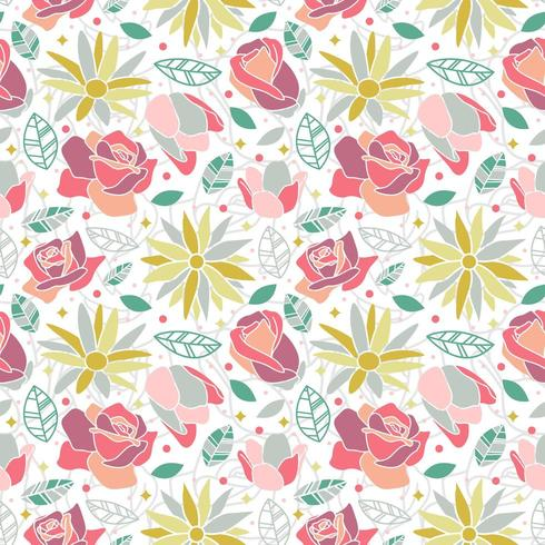 flower blossom rose daisy seamless pattern background vector