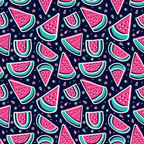 watermelon slice colorful tropical fresh fruit seamless pattern vector