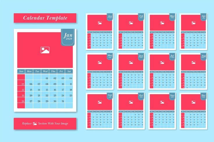 Plantilla de calendario 2020 en estilo de color pastel vector