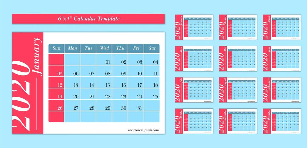 6x4 inch horizontal 2020 calendar template in blue and red color style