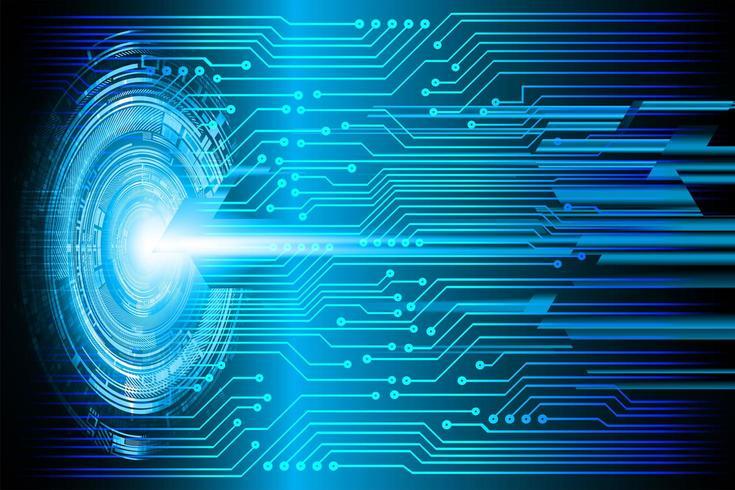 Imagem de tecnologia futura do circuito azul cibernético vetor