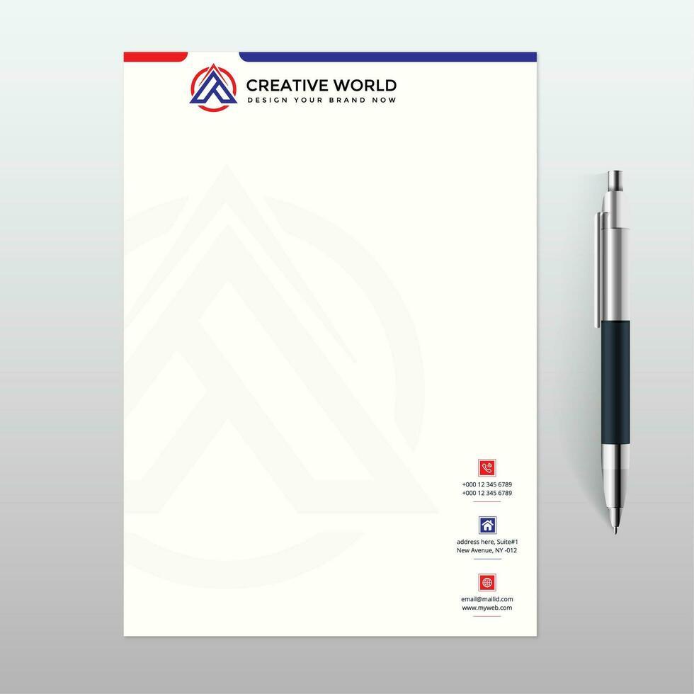 modello di carta intestata con design rosso e blu