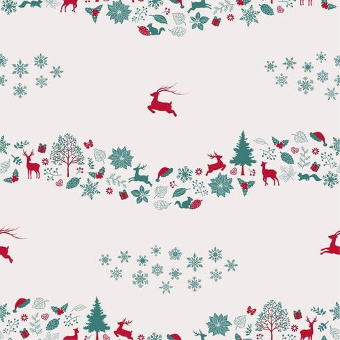 Christmas holiday seamless repeat pattern with traditional symbols vector