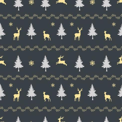 Christmas holiday seamless pattern with deer family on dark background vector