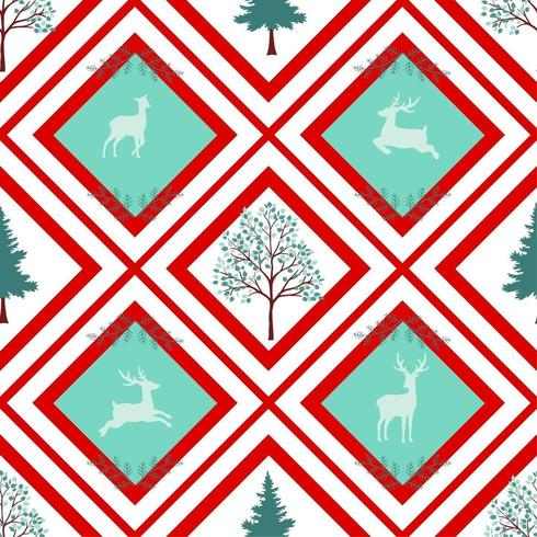 Christmas holiday seamless pattern on geometric background vector