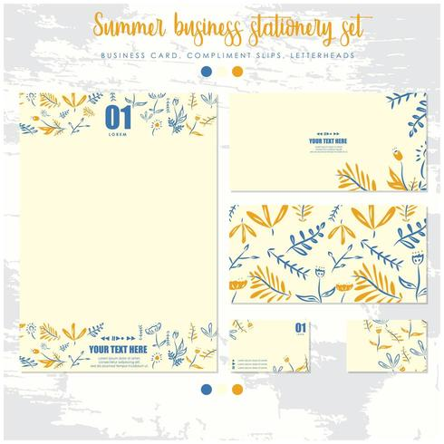 floral hand drawn stationery set vector