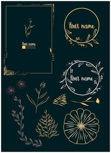 cornici disegnate a mano floreali ed elementi di scorrimento