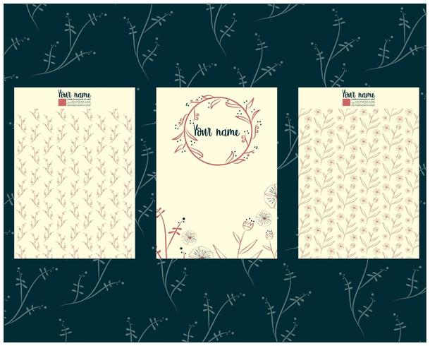 card or letter template set with floral hand drawn elements vector