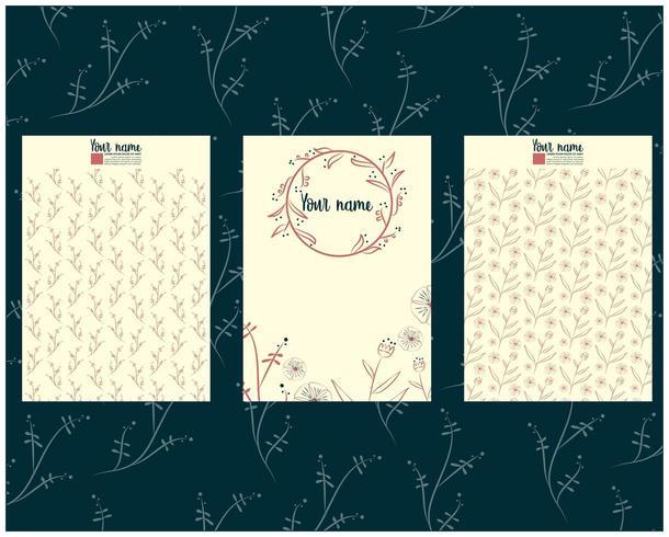 modello di carta o lettera impostato con elementi floreali disegnati a mano