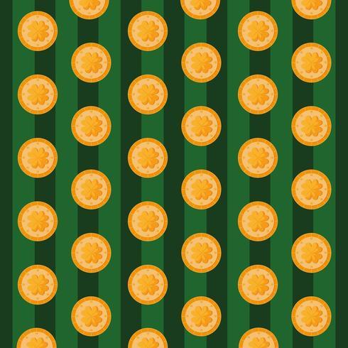 modello del giorno di San Patrizio con monete e trifogli
